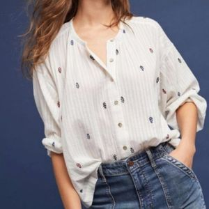 Anthro Akemi Kin Adela Embroidered Peasant Blouse